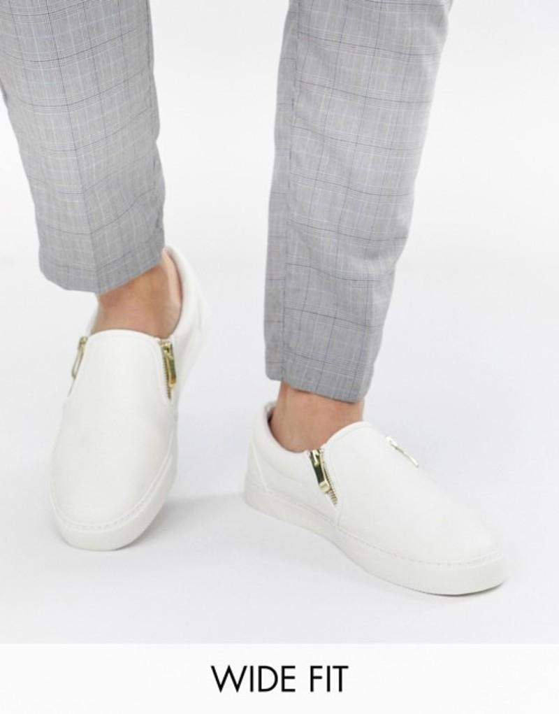 エイソス メンズ スニーカー シューズ ASOS DESIGN Wide Fit slip on sneakers in white with zips White