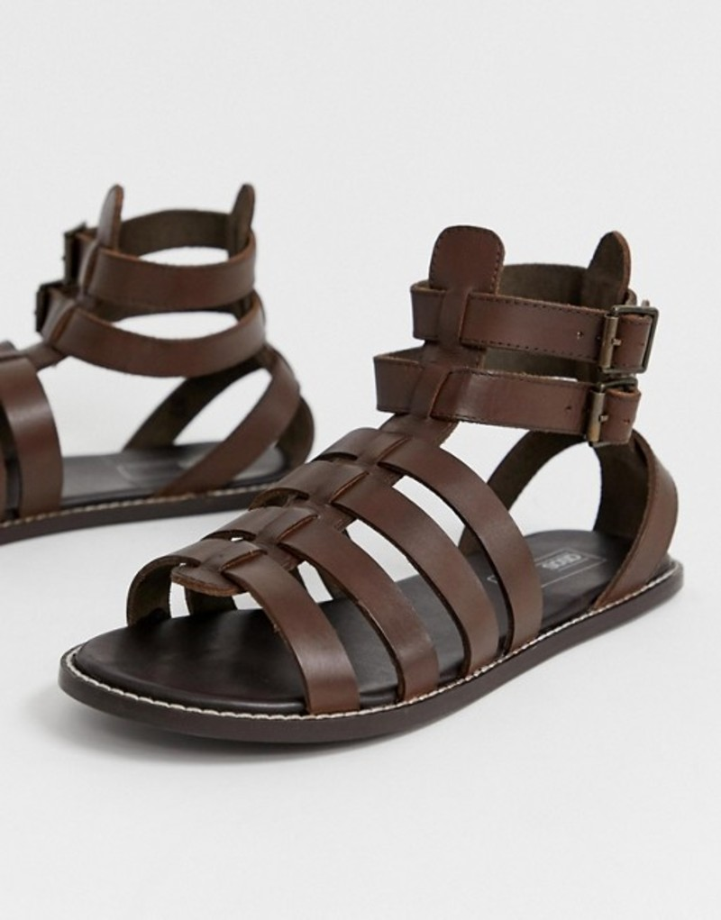 エイソス メンズ サンダル シューズ ASOS DESIGN gladiator sandals in brown leather Brown