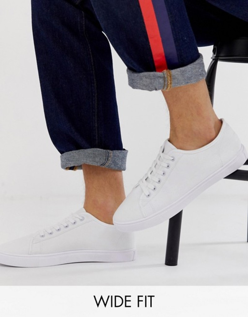 エイソス メンズ スニーカー シューズ ASOS DESIGN Wide Fit sneakers in white canvas White