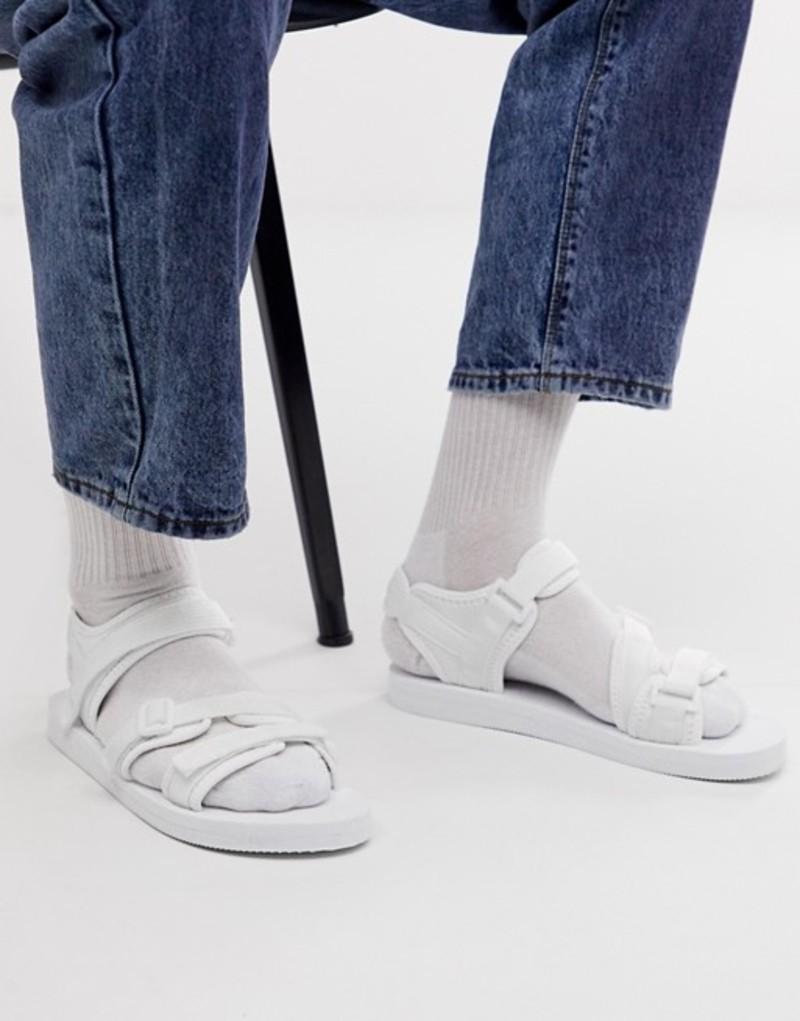 エイソス メンズ サンダル シューズ ASOS DESIGN tech sandals in white with tape straps White