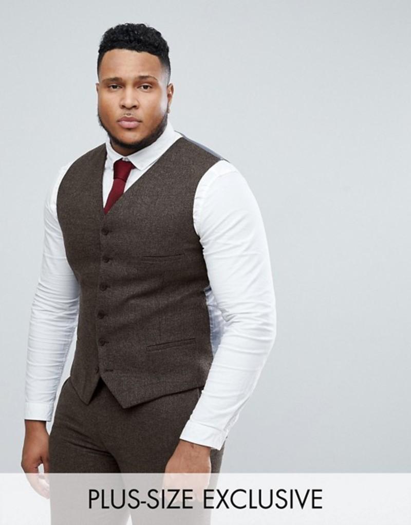 ハートアンドダガー メンズ タンクトップ トップス Heart & Dagger skinny wedding vest in weave Brown