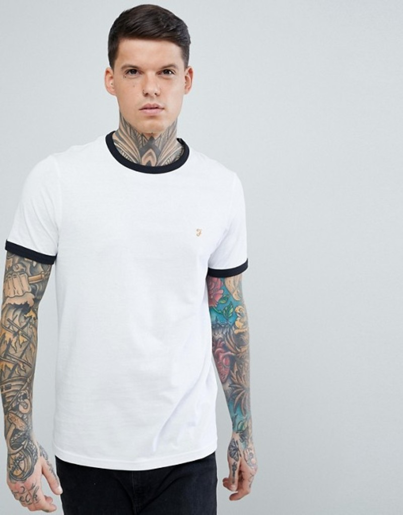 ファーラー メンズ Tシャツ トップス Farah Groves Slim Fit Ringer T-Shirt in White White
