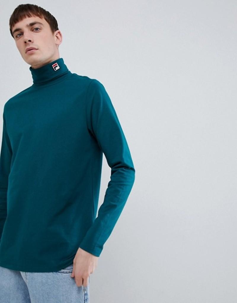 フィラ メンズ Tシャツ トップス Fila White Line Logo Roll Neck Long Sleeve T-Shirt In Green Green