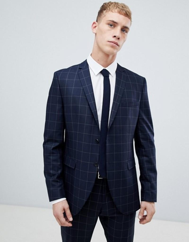 セレクテッドオム メンズ ジャケット・ブルゾン アウター Selected Homme Navy Suit Jacket With Grid Check In Slim Fit Navy blazer