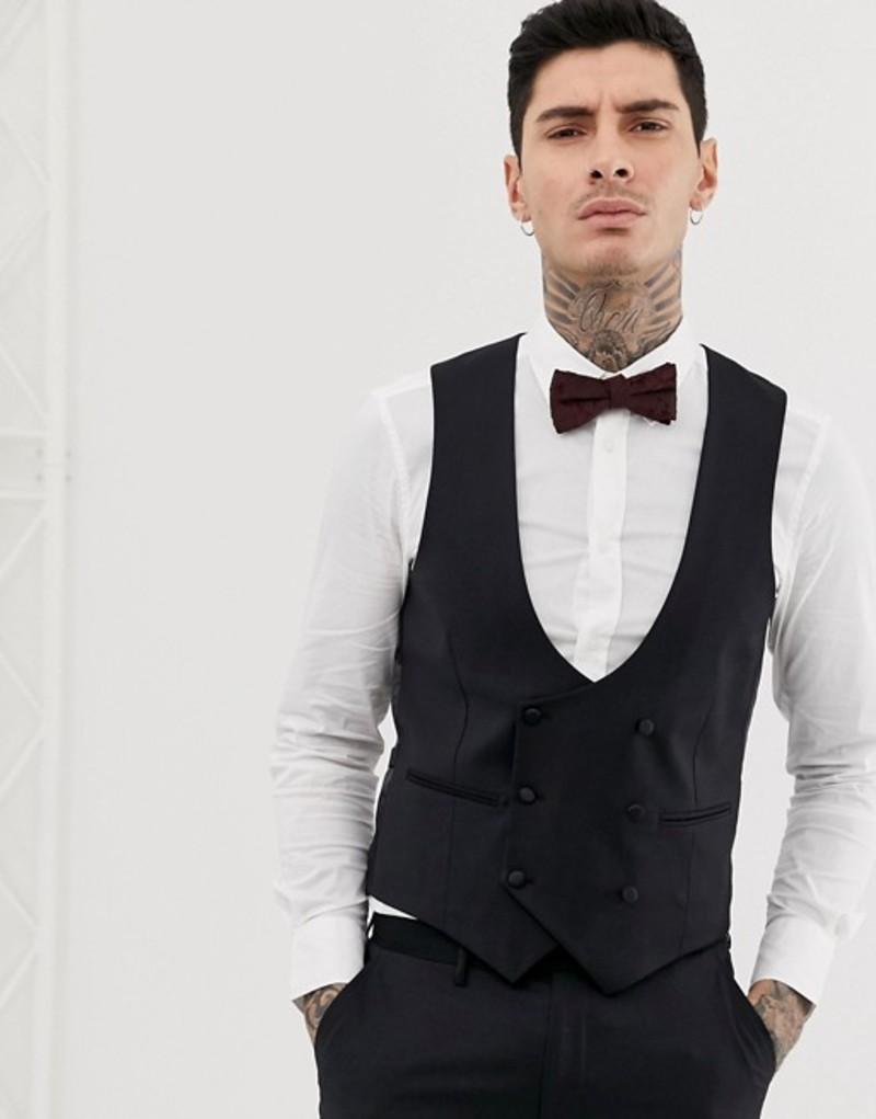 デビルズ アドボケート メンズ タンクトップ トップス Devils Advocate skinny fit tuxedo scoop vest Black