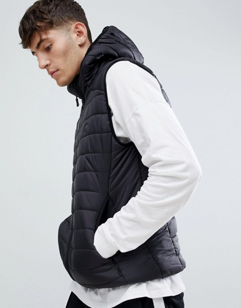 ディーストラクト メンズ タンクトップ トップス D-Struct Quilted lightweight hooded puffer vest fine nylon Black
