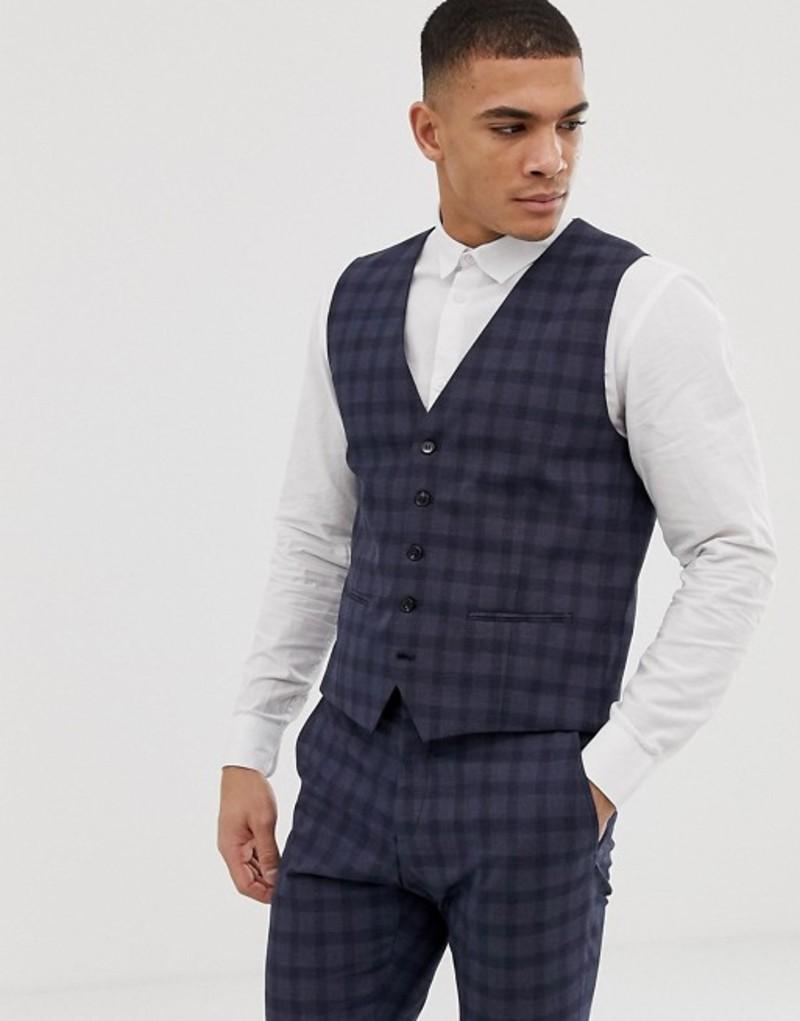 セレクテッドオム メンズ タンクトップ トップス Selected Homme suit vest in navy check Navy blue