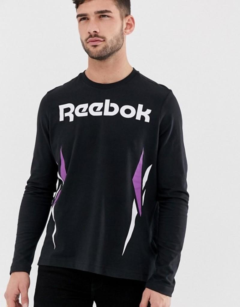 リーボック メンズ Tシャツ トップス Reebok Vector Logo Long Sleeve T-Shirt in black Black