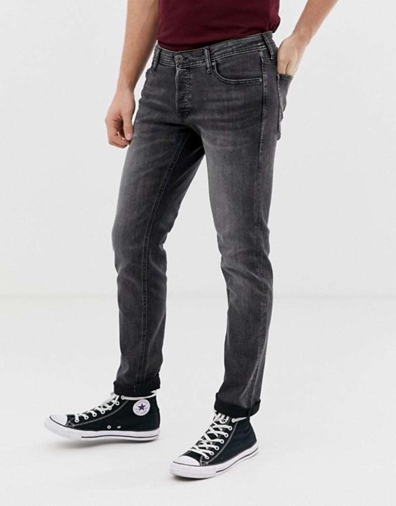 ジャック アンド ジョーンズ メンズ デニムパンツ ボトムス Jack & Jones Intelligence tapered slim fit jeans in washed black Black denim