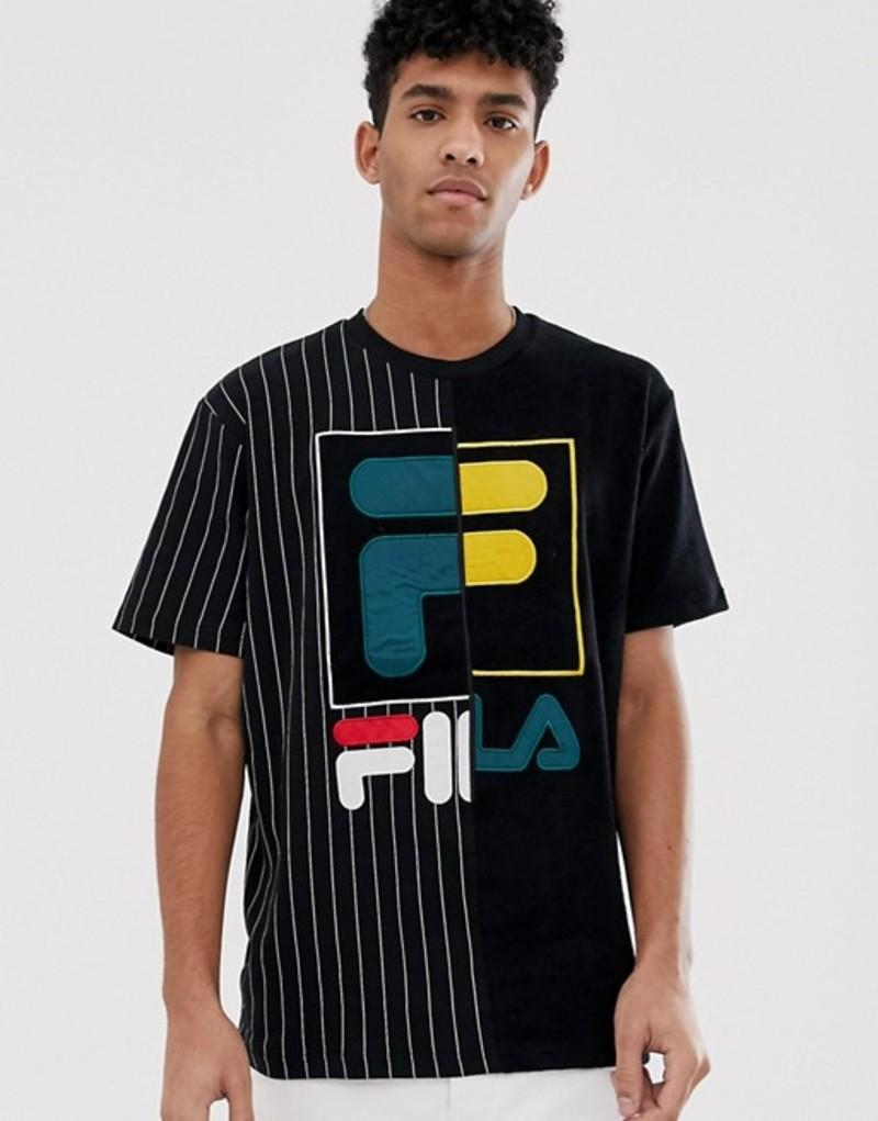 フィラ メンズ Tシャツ トップス Fila Black Line Aiden Contrast Terry Towelling T-Shirt In Black Black