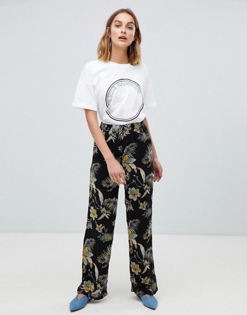 ゲタス レディース カジュアルパンツ ボトムス Gestuz Maui floral print wide leg pants Black palm