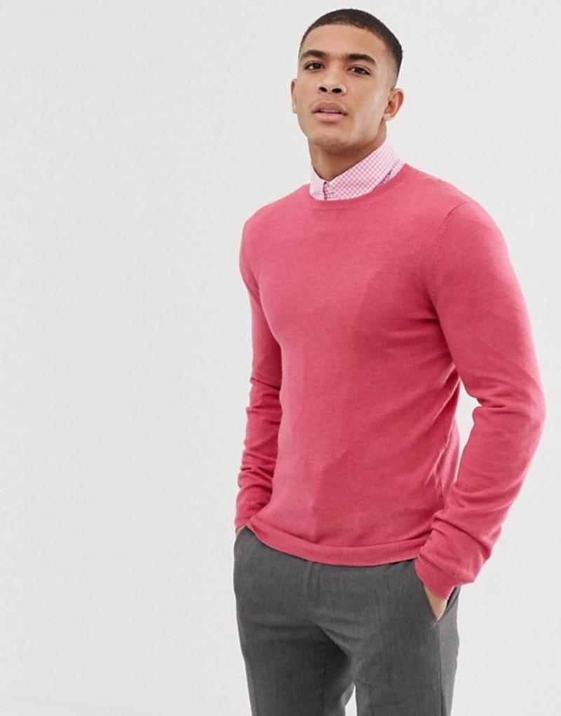 エイソス メンズ ニット・セーター アウター ASOS DESIGN muscle fit merino wool sweater in pink Pink