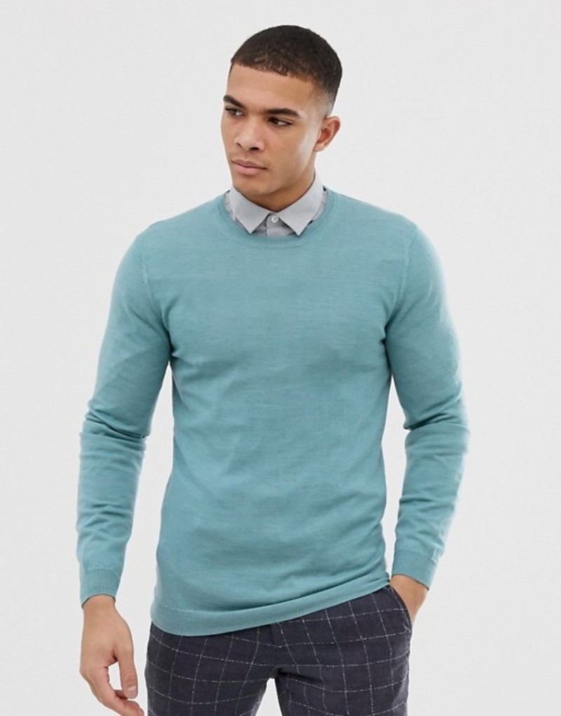 エイソス メンズ ニット・セーター アウター ASOS DESIGN muscle fit merino wool sweater in sea green Sea green