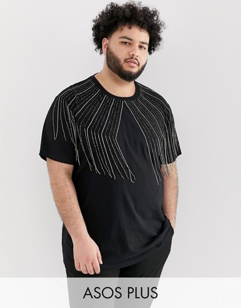 エイソス メンズ Tシャツ トップス ASOS DESIGN Plus festival relaxed longline t-shirt with embellished gem fringing in black Black