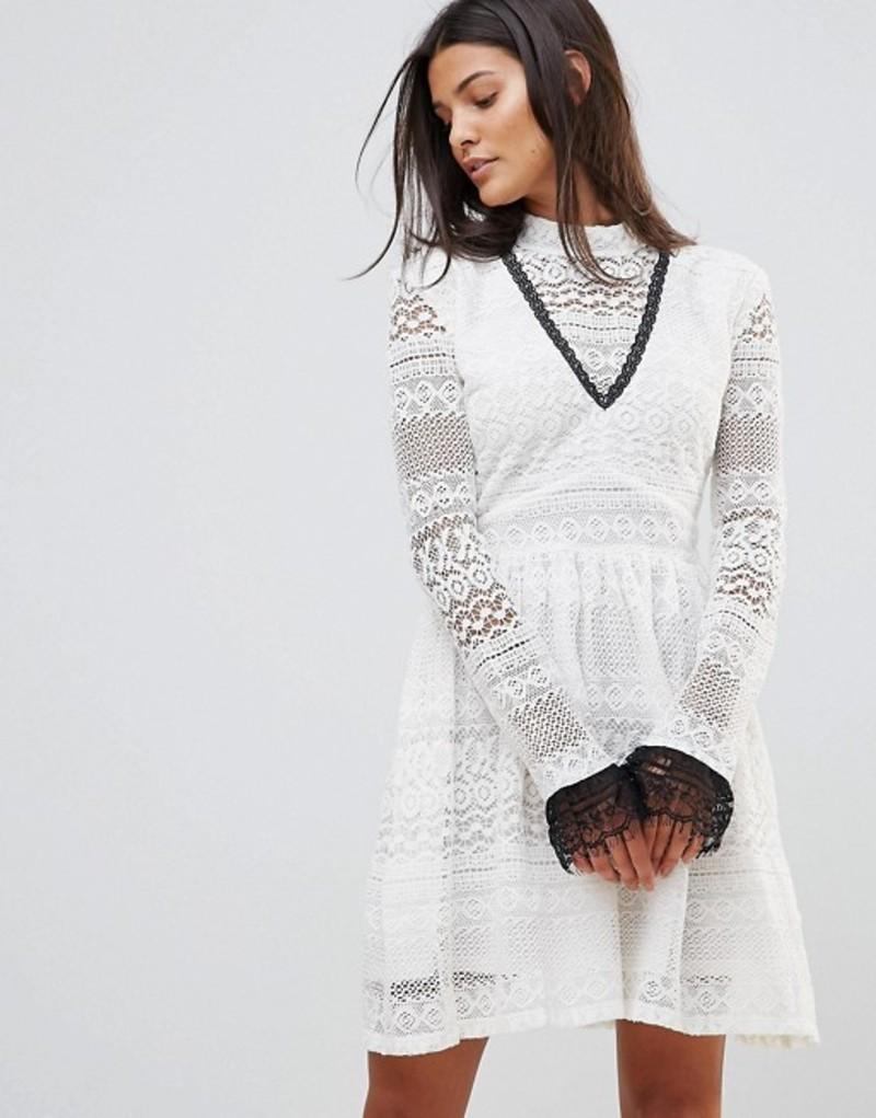 ミリーマッキントッシュ レディース ワンピース トップス Millie Mackintosh High Neck Lace Dress Wht