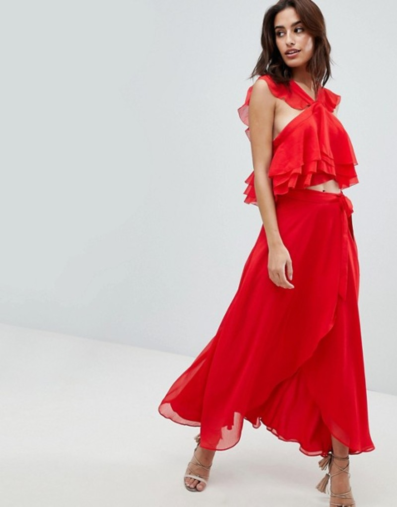 ジェットセットダイアリーズ レディース スカート ボトムス The Jetset Diaries Sintra Ruffle Wrap Midi Skirt Crimson red