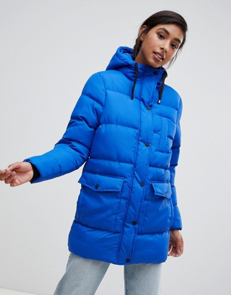 ブレーブソウル レディース ジャケット・ブルゾン アウター Brave Soul snowstar padded mid length coat Blue