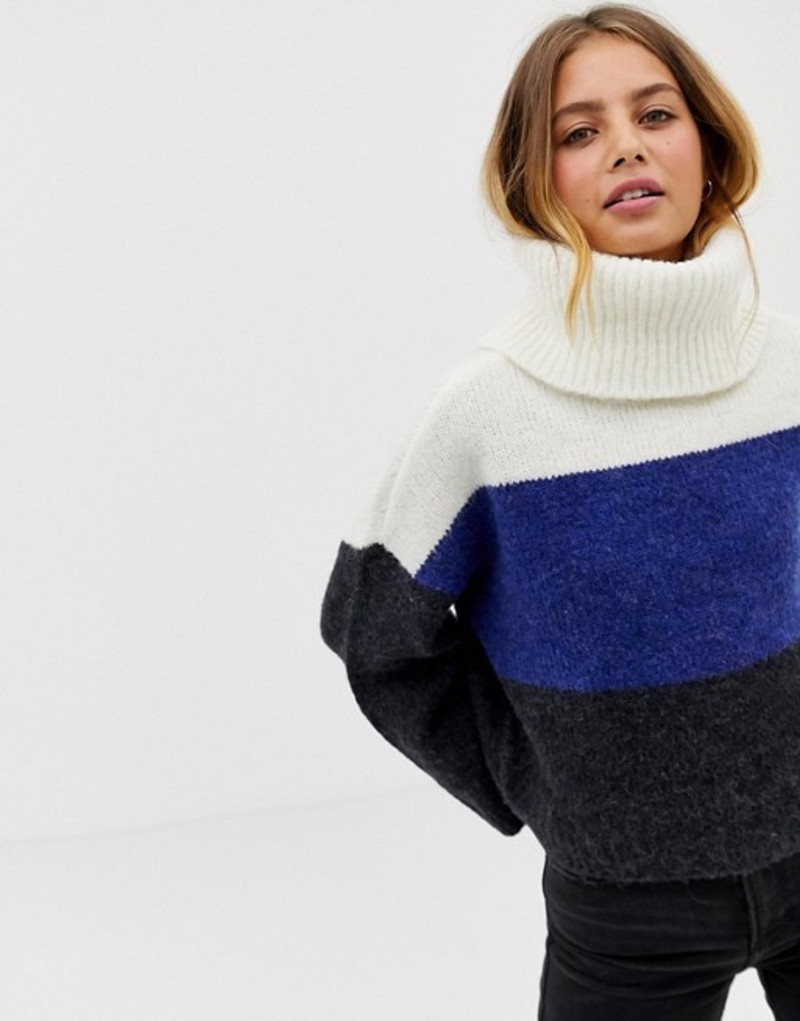 オンリー レディース ニット・セーター アウター Only Jeana color block rollneck sweater in wool blend Night sky