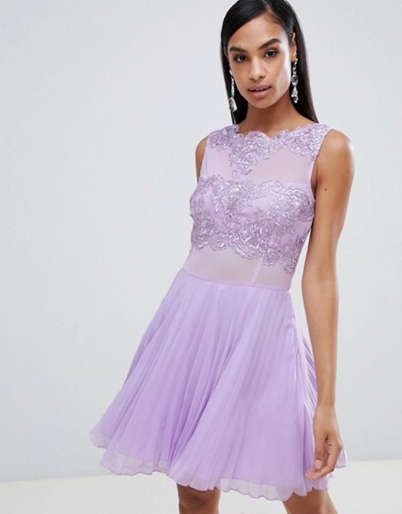 アックスパリ レディース ワンピース トップス AX Paris tulle skater dress with embellished detail Lilac