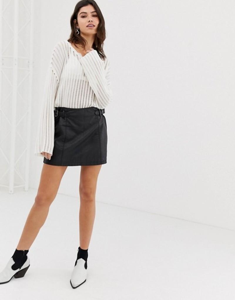 フリーピープル レディース スカート ボトムス Free People Charli leather mini skirt Black