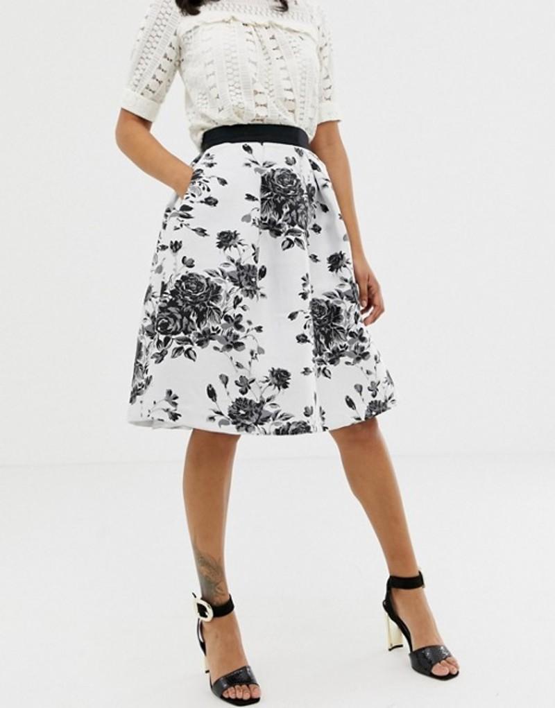 クローゼットロンドン レディース スカート ボトムス Closet Floral Pleated Midi Skirt Black/white