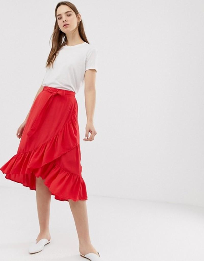 ミニマム レディース スカート ボトムス Minimum ruffle wrap skirt True red