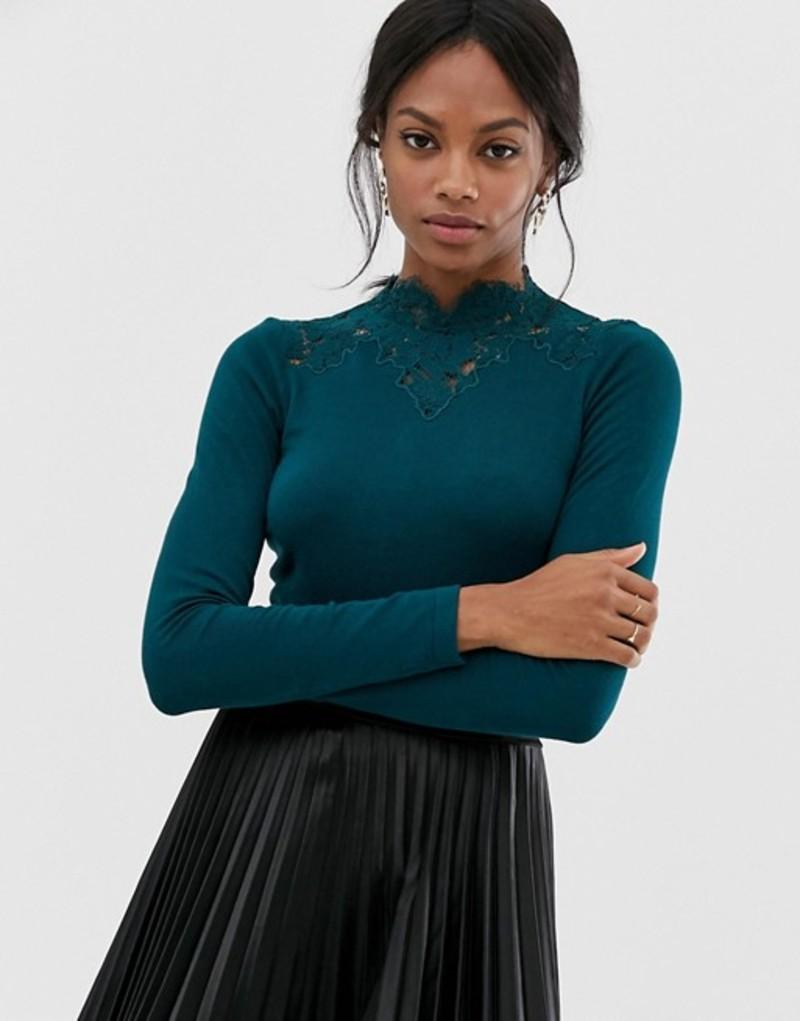 ウエアハウス レディース ニット・セーター アウター Warehouse lace high neck sweater Dark green