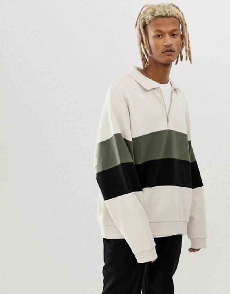 エイソス メンズ パーカー・スウェット アウター ASOS DESIGN oversized sweatshirt with half zip harrington collar and color blocking in beige Birch