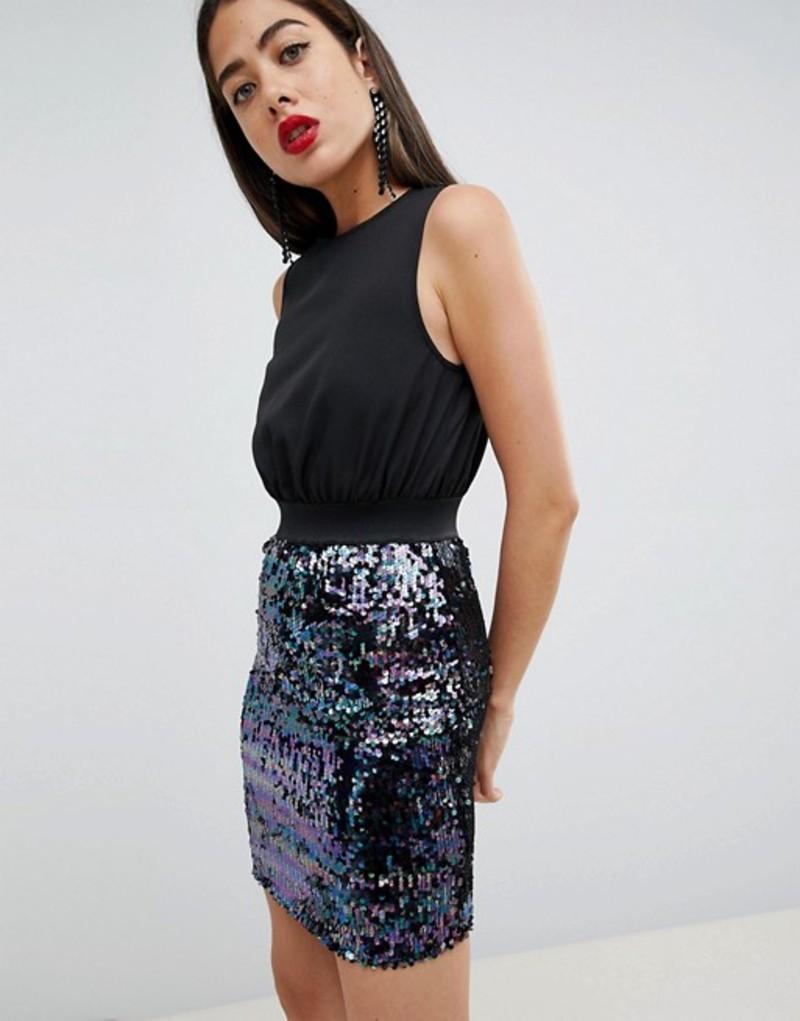 アックスパリ レディース スカート ボトムス AX Paris 2-in-1 Dress With Sequin Skirt Black