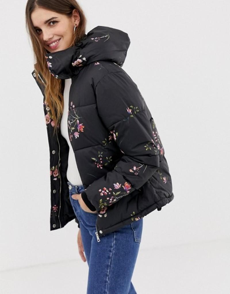 キューイーディーロンドン レディース ジャケット・ブルゾン アウター QED London floral printed padded jacket Black print