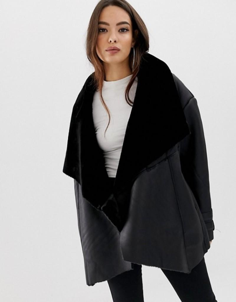 ミスガイデッド レディース ジャケット・ブルゾン アウター Missguided waterfall shearling jacket Black