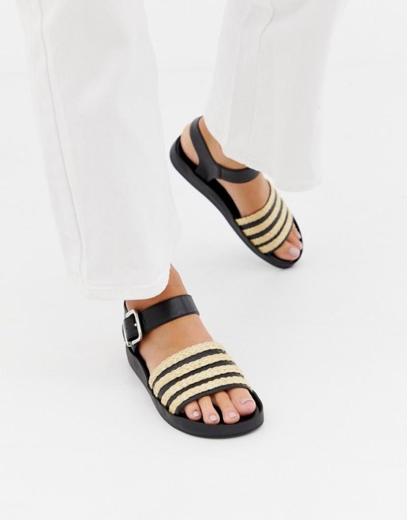セントサナ レディース サンダル シューズ St Sana raffia flat sandal Black