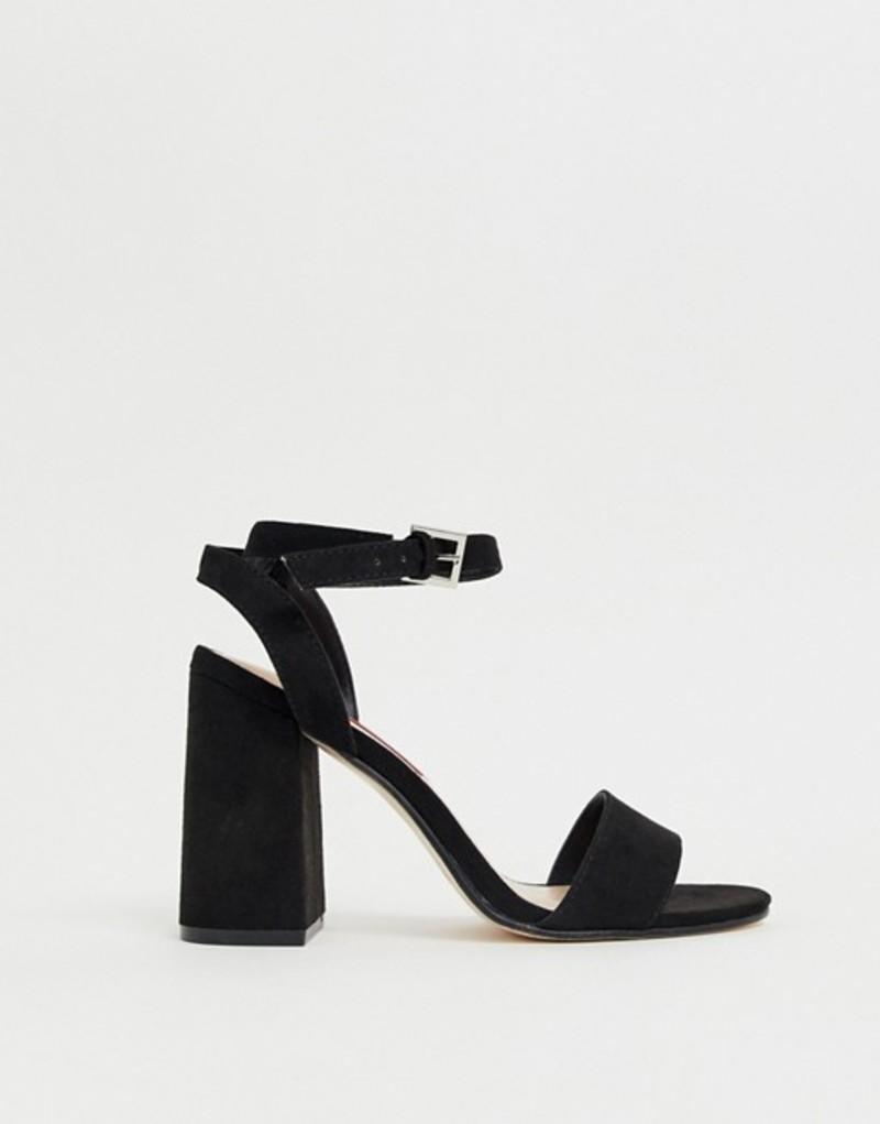 ロンドンレベル レディース サンダル シューズ London Rebel barely there block heel sandals Black micro