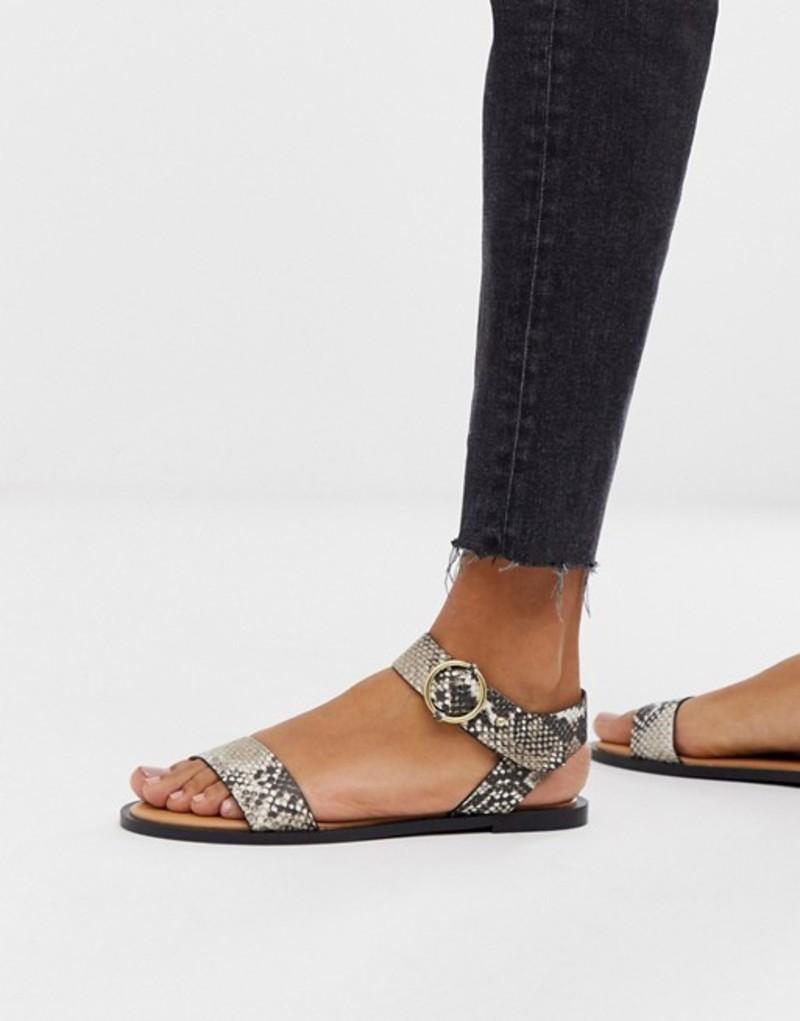 キューピッド レディース サンダル シューズ Qupid two part flat sandals in snake Snake