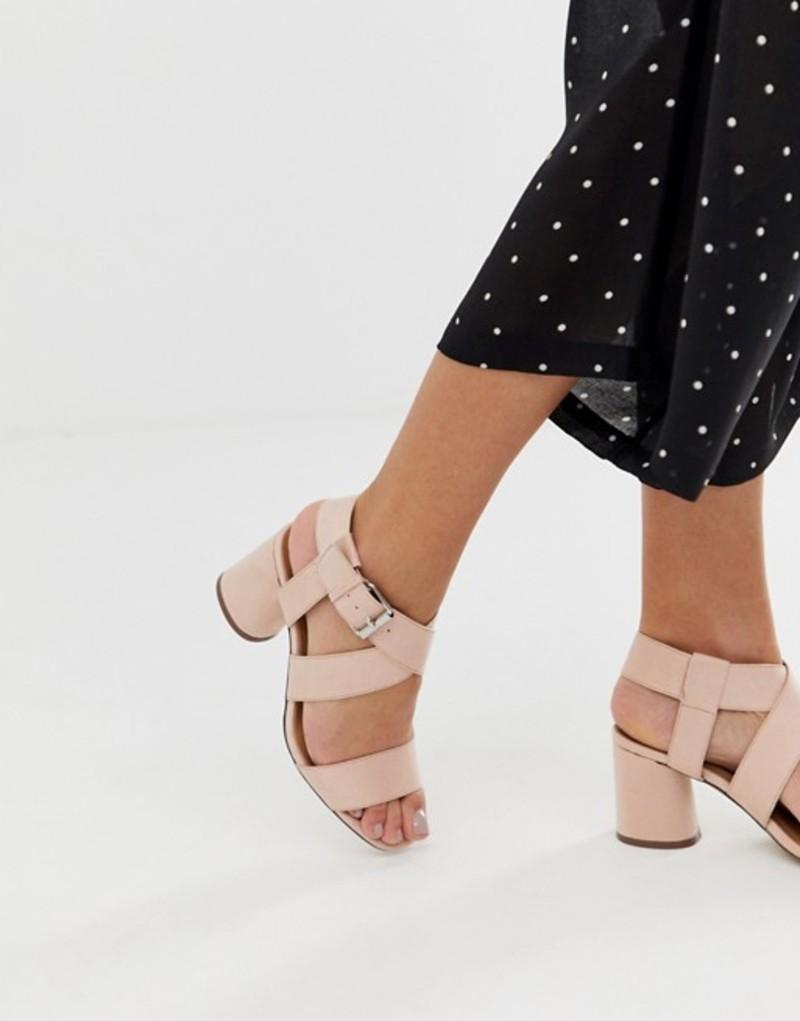 キューピッド レディース サンダル シューズ Qupid mid block heeled sandals Beige