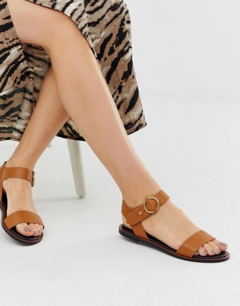 キューピッド レディース サンダル シューズ Qupid two part flat sandals Tan