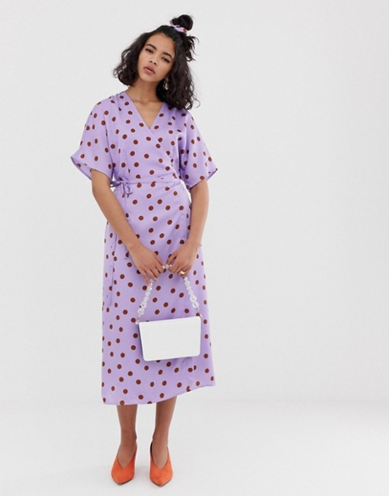ゲタス レディース ワンピース トップス Gestuz Elsie polka dot sateen wrap midi dress with matching hair scrunchie Purple/caramel dot