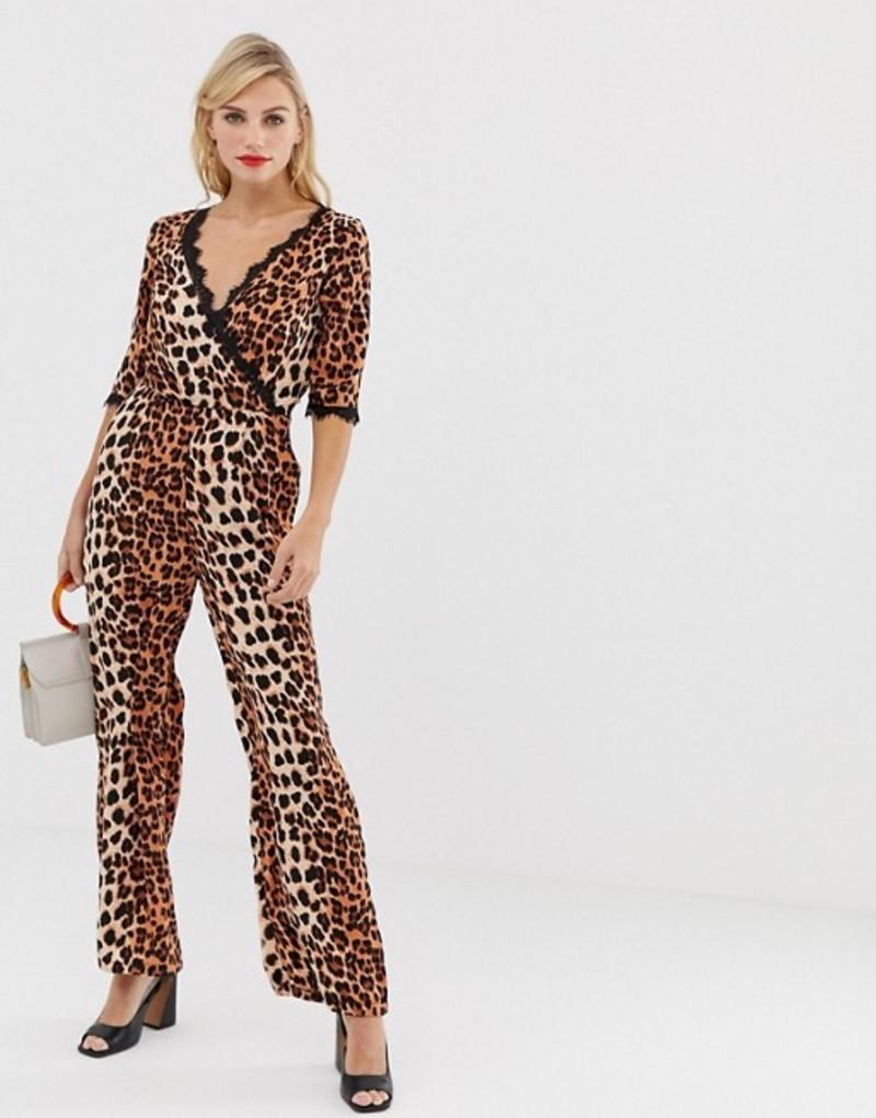 リクオリッシュ レディース ワンピース トップス Liquorish wrap front jumpsuit in leopard print with lace trim sleeve detail Orange animal