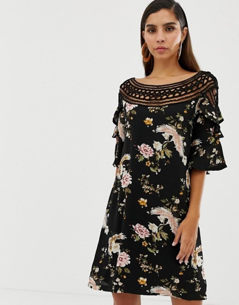 リクオリッシュ レディース ワンピース トップス Liquorish floral shift dress with lace cutout detail and fluted sleeves Black