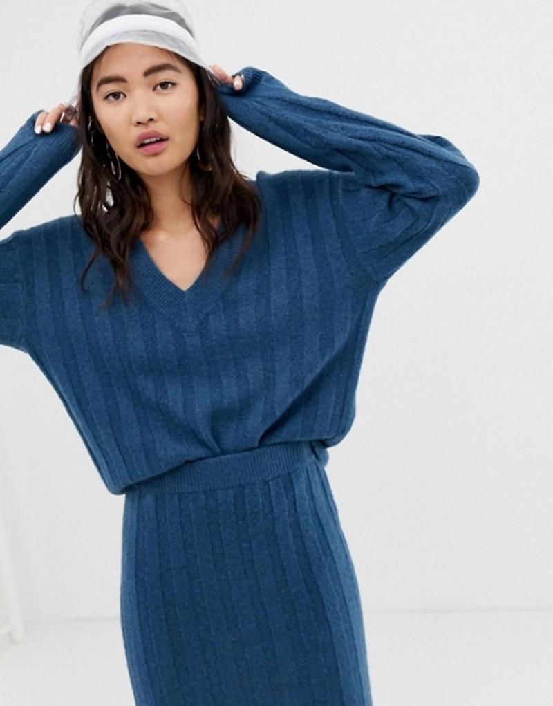モンキ レディース ニット・セーター アウター Monki v-neck ribbed sweater in blue two-piece Blue