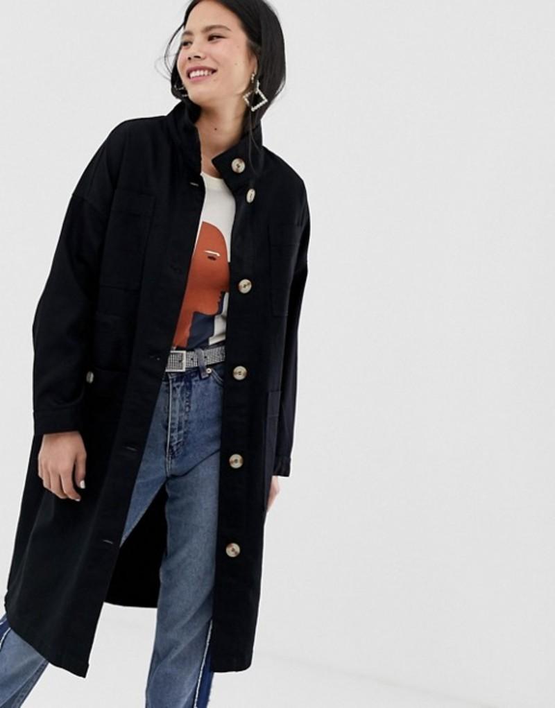 モンキ レディース コート アウター Monki midi lightweight coat with oversized pockets in black Black