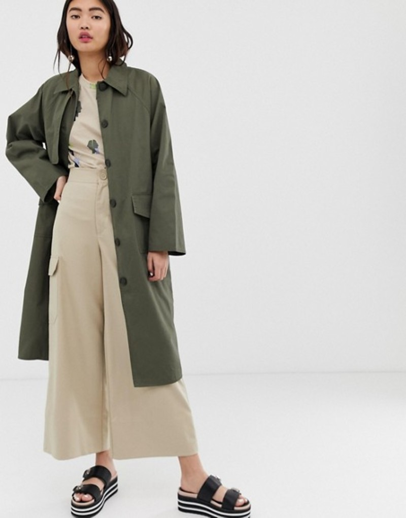 モンキ レディース コート アウター Monki oversized utility style lightweight coat in khaki Green