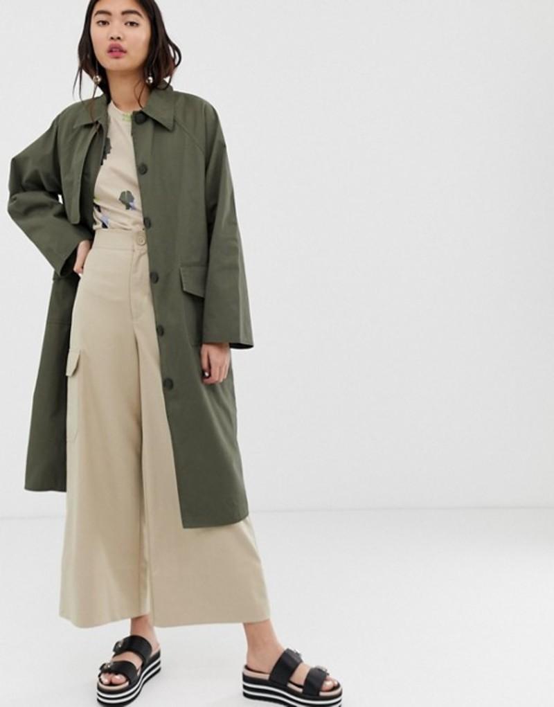 モンキ レディース コート アウター Monki oversized utility style lightweight coat in khaki Green