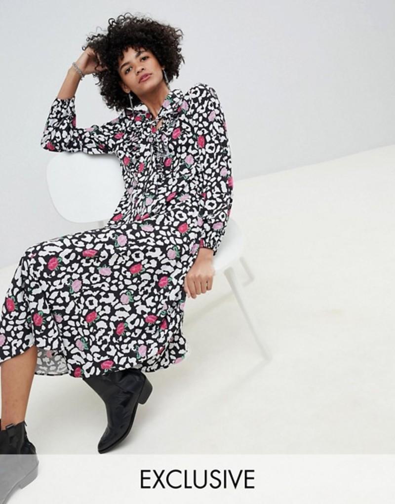 リリーアンドライオネル レディース ワンピース トップス Lily & Lionel exclusive rose leopard ruffle midi dress Rose leopard