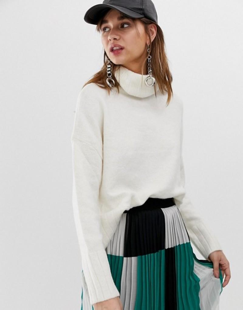 ストラディバリウス レディース ニット・セーター アウター Stradivarius high neck oversized knitted sweater in cream Cream