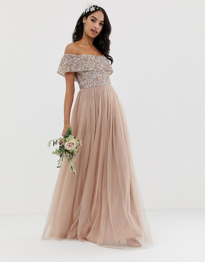 マヤ レディース ワンピース トップス Maya Bridesmaid bardot maxi tulle dress with tonal delicate sequins in taupe blush Taupe blush