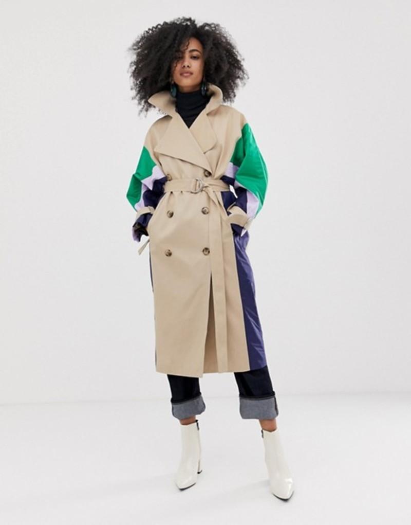 エイソス レディース コート アウター ASOS WHITE trench coat with quilted shell suit panels Multi