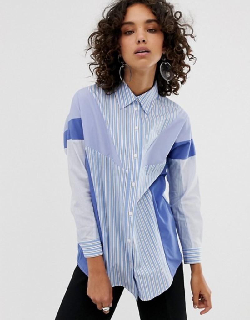 エイソス レディース シャツ トップス ASOS WHITE stripe mix shirt Blue