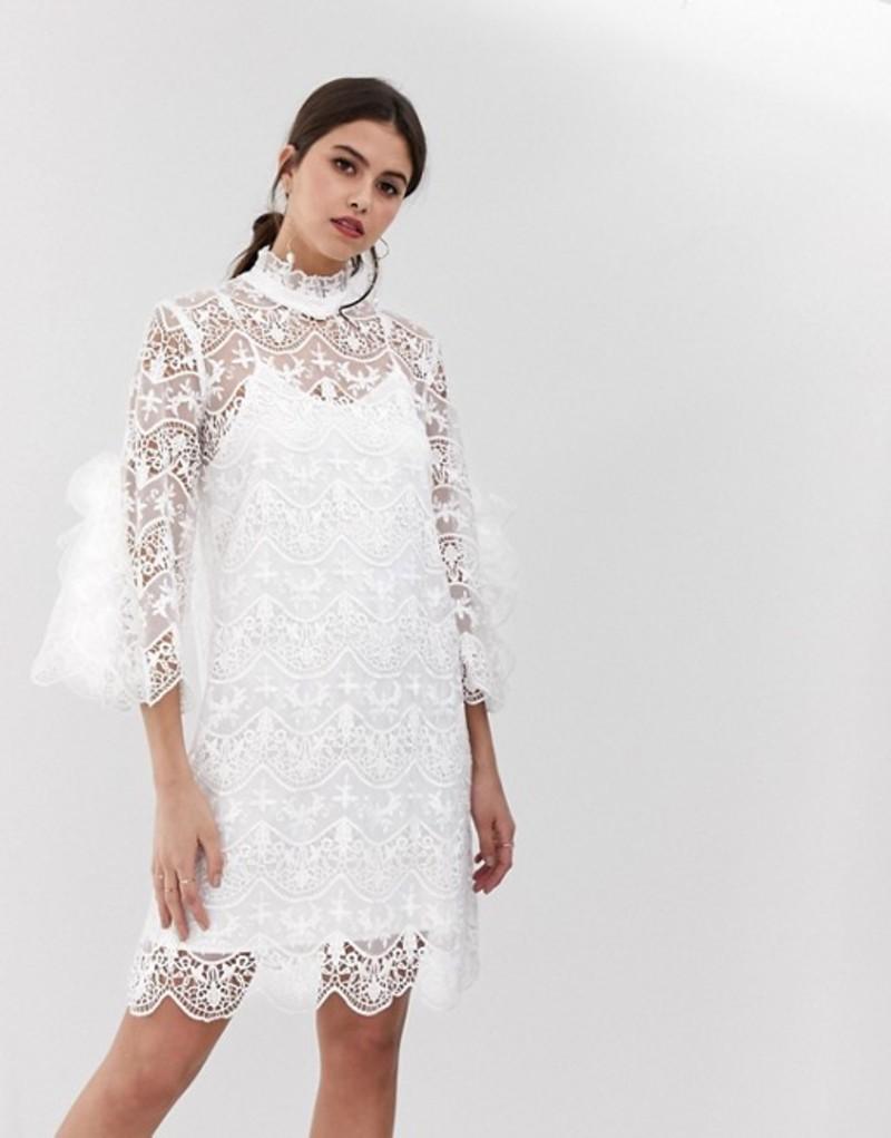 ワイエーエス レディース ワンピース トップス Y.A.S Bridal high neck lace dress White