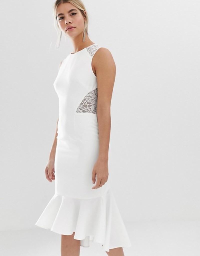 チチロンドン レディース ワンピース トップス Chi Chi London lace insert midi dress with dip hem in white White